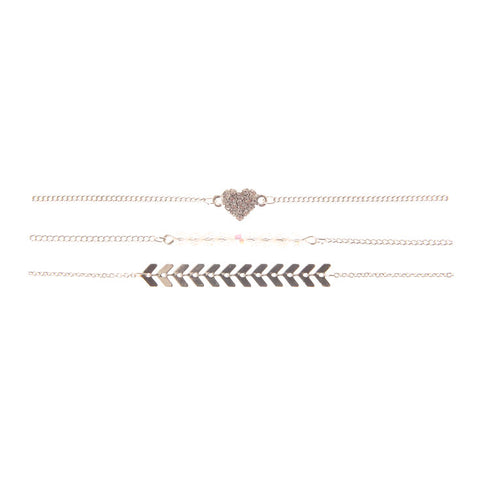 Pretty Delicate Chain Bracelets - 3 Pack