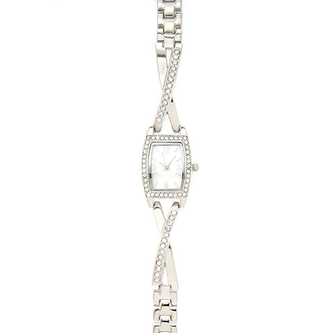 Silver Criss Cross Embellished Watch