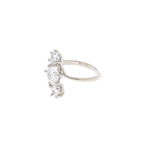 Silver Cubic Zirconia Triple Stone Ring