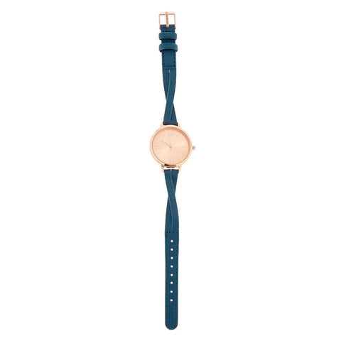 Teal Faux Leather Rose Gold Tone Watch