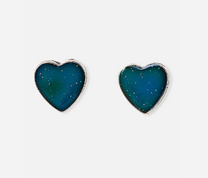 Heart mood stud earrings