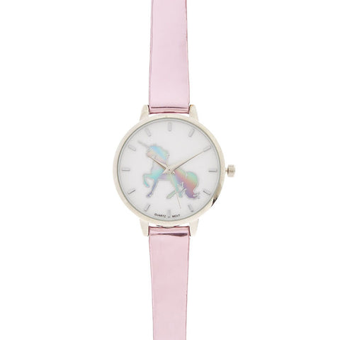 Pink Metallic Unicorn Watch