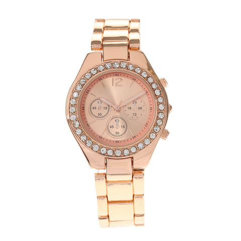 Rose Gold Crystal Boyfriend Watch