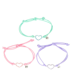 Best Friends Coloured Crystal Hearts Cord Bracelets