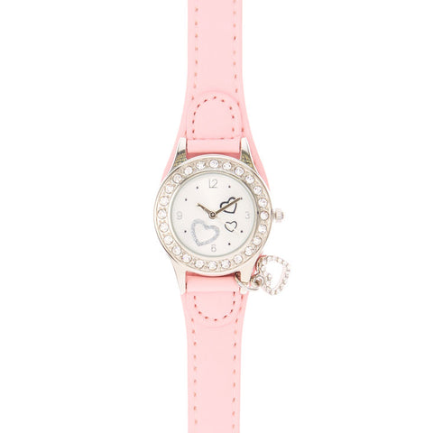 Pink Heart Charm Wrist Watch