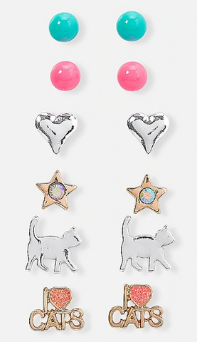 Kitten fun stud earrings - 6 pack