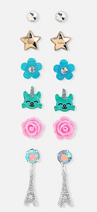 Caticorns in paris stud earrings - 6 pack