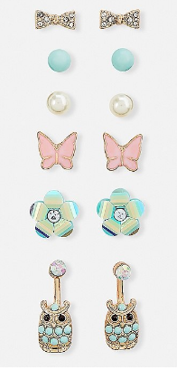 Happy owls stud earrings - 6 pack