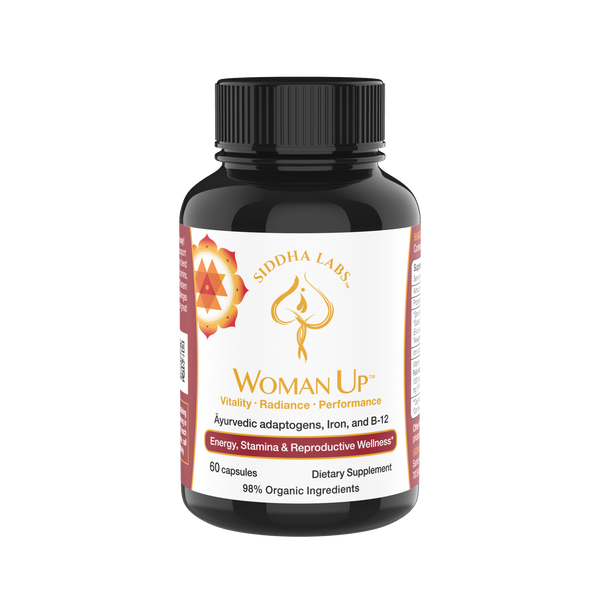 Front view of Woman Up ayurvedic adaptogen daily support formula with iron, b12, folic acid, biotin, and ayurvedic herbs for full spectrum wellness support