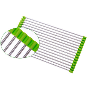 Roll-Up Folding Over the Sink Multipurpose Roll Up Dish Drying Rack Silicone Colander Foldable Sink Drainer Tray 301-0701 - The Innovative Pantry