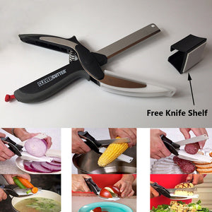 Clever Cutter 2-in-1 Knife & Cutting Board Scissors + Free Knife Shelf - The Innovative Pantry