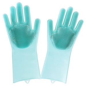 Magic Silicone Scrubber Dish Gloves - 1 Pair