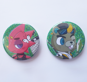 Animal Crossing Flick & CJ - Large 58mm Badges