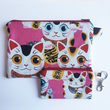 Load image into Gallery viewer, Pink Lucky Cat - Coin purse & zippy bag