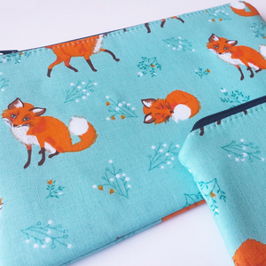 Teal Fox - Coin purse & zippy bag