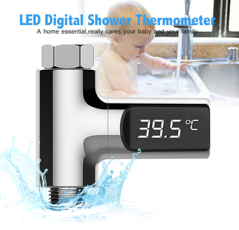 Thermometer Flow Self-Generating Electricity Water Temperture Meter Monitor For Baby Care