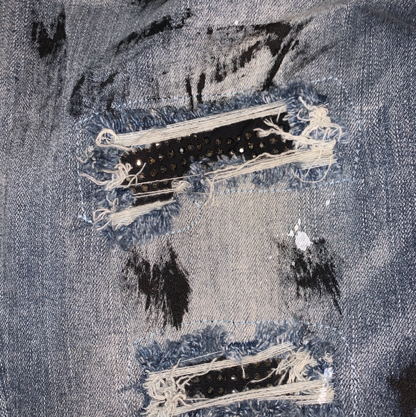 Paint splash blue jeans w/ white stones