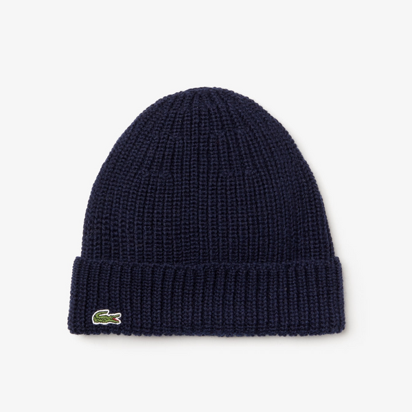 Men's Turned Edge Ribbed Wool Beanie(Navy Blue)
