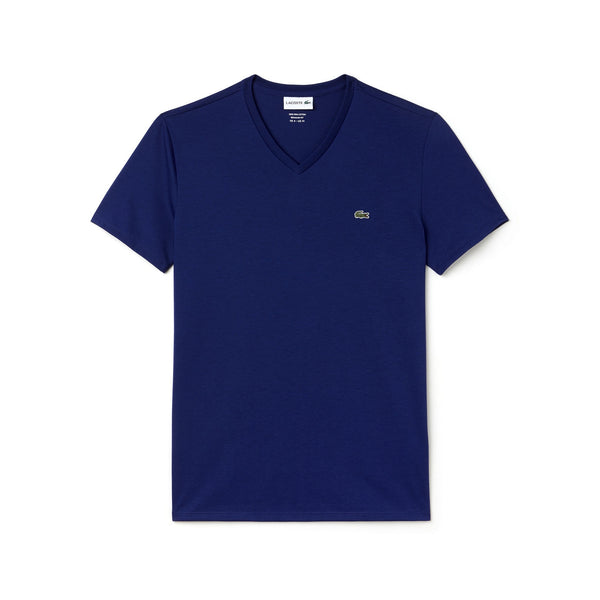 Men's V-neck Pima Cotton Jersey T-shirt (dark royal blue)