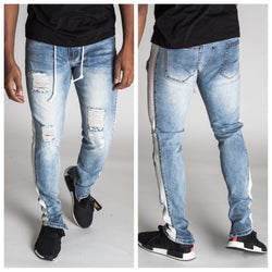 Striped Track Jeans with Coated Drawstrings (Blue)