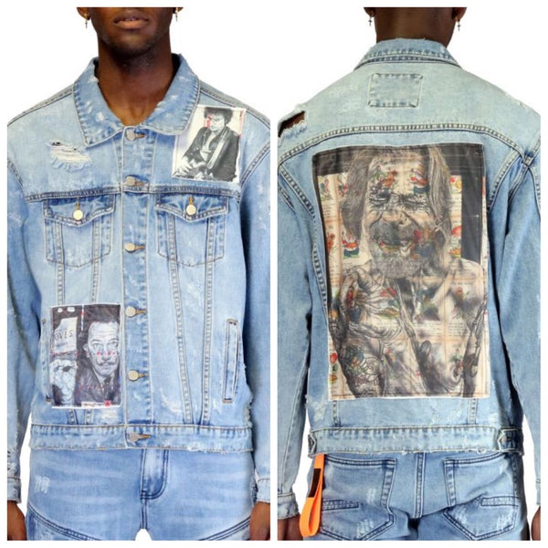 Patch work denim jacket