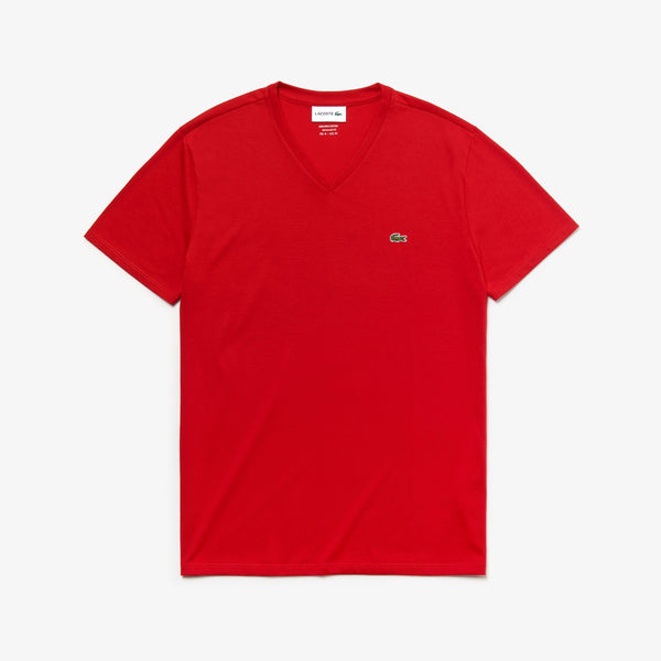 Men's V-neck Pima Cotton Jersey T-shirt (Red)
