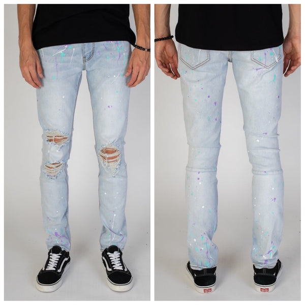 Destroyed Jeans With Multi Paint Splash (Light Blue)