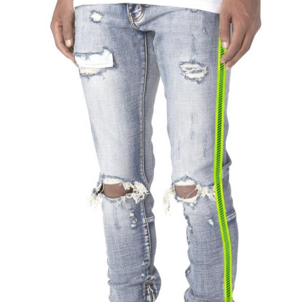 Luminous Neon Yellow Stripe Zipper (Light Wash)