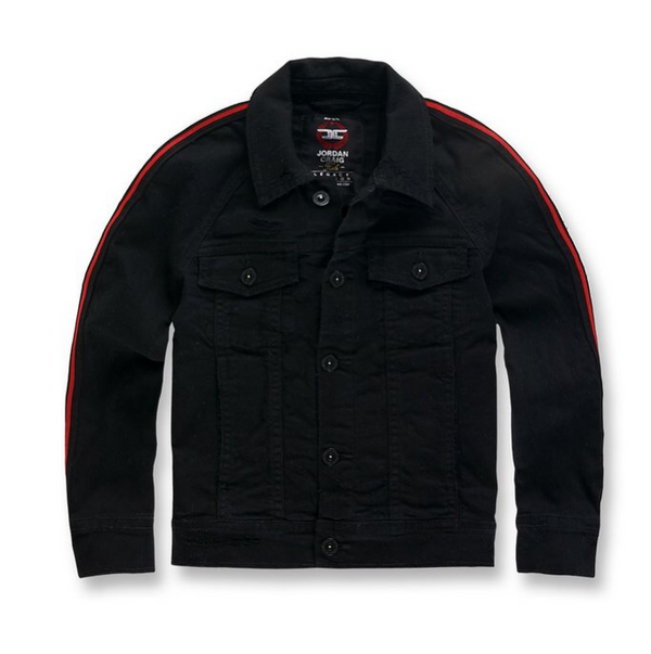 kids grand prix striped denim jacket (Jet black)