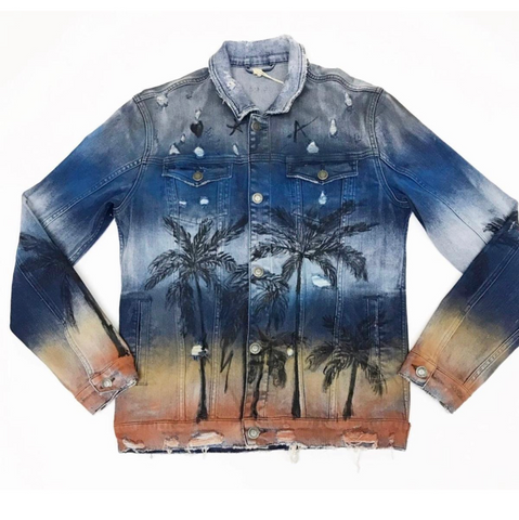 Palms painted jacket (blue)