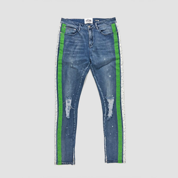 Hendrix jeans w/ green and white stripe