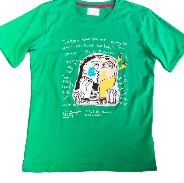 Picasso Kiss Velvet Flocking Tshirt Bright Green