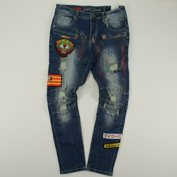 Osaka Tiger Prints Denim Jean (Dark Indigo)