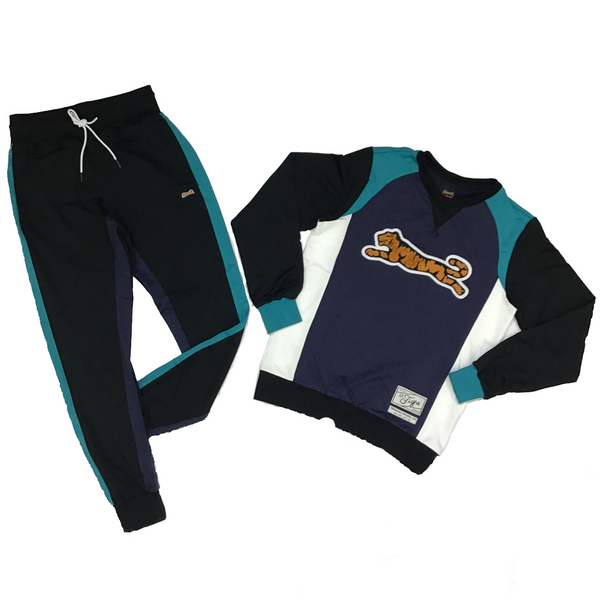 Retro logo crew neck sweatsuit  (black/teal/purple)