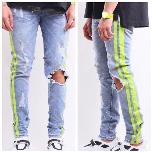 Zephyr denim (Indigo and neon)