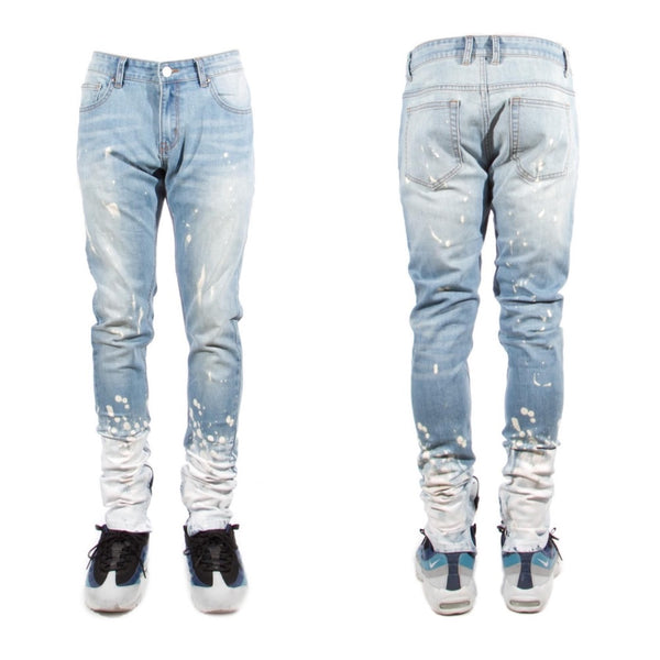 Splatter Zipper Jeans (Blue)