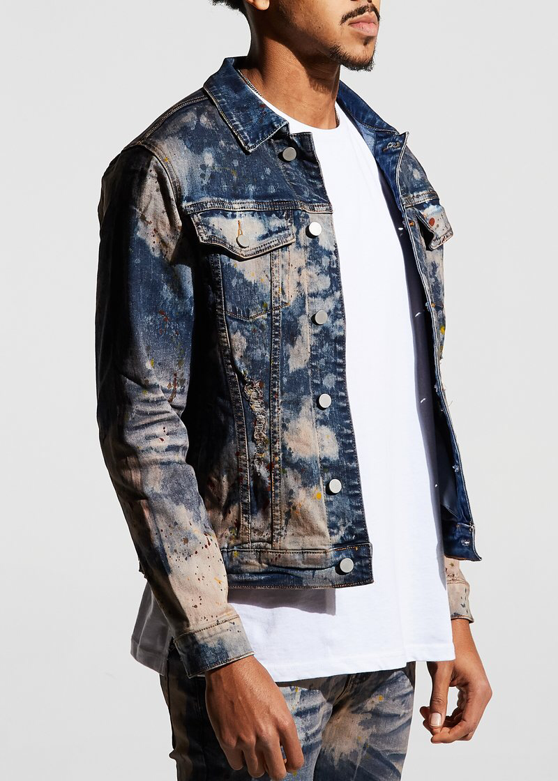 Porter denim jacket ( blue paint splatter)