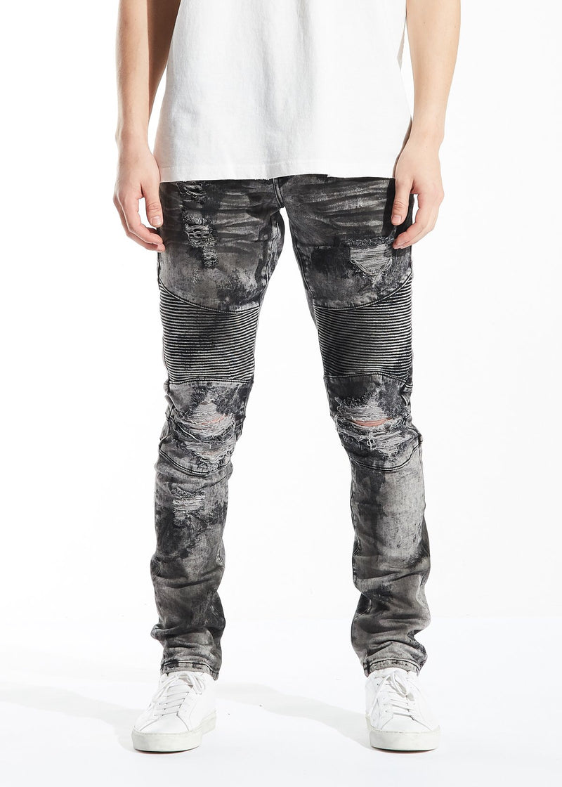 Sandro biker denim (grey acid wash)