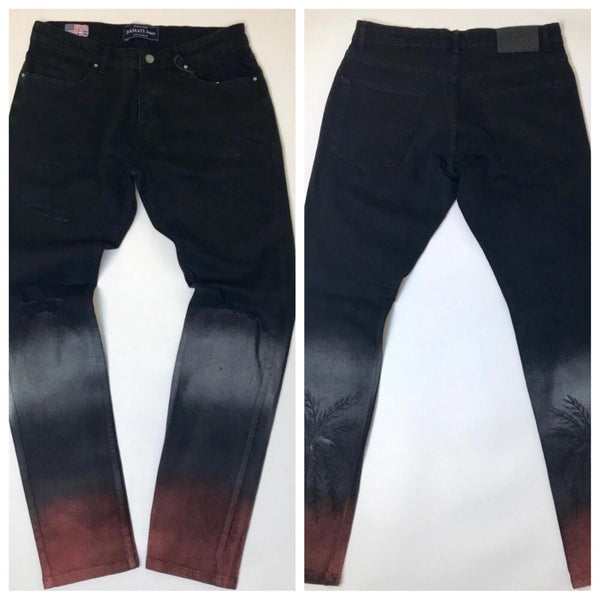 Palm painted jeans (black)