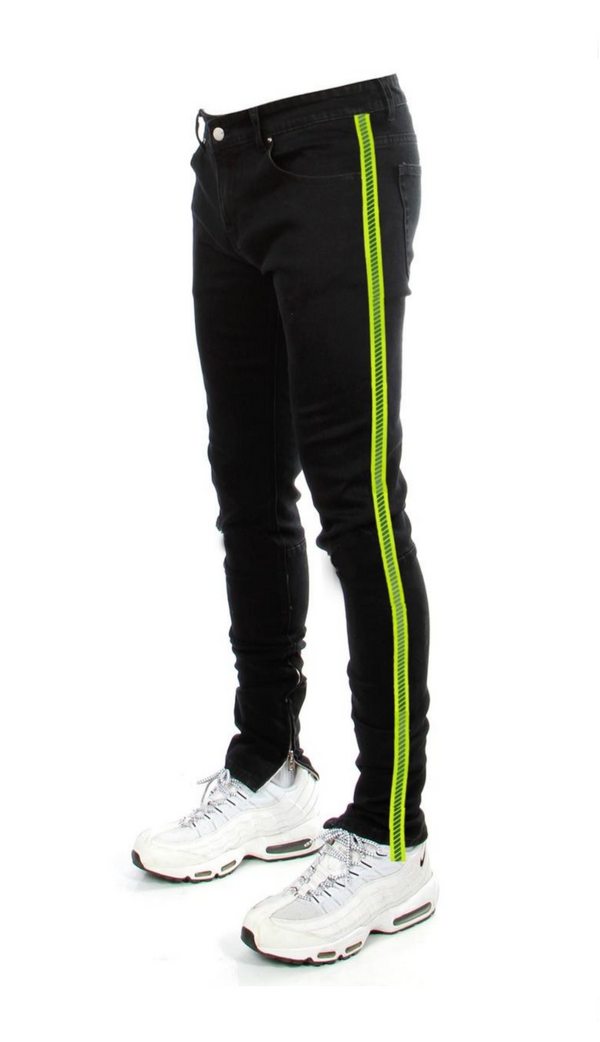 Luminous Neon Yellow Stripe Zipper (Black)