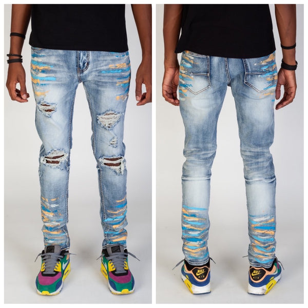 RIPPED JEANS WITH MULTI-PAINT SPLATTER (BLUE)