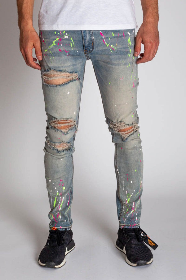 Neon Paint Splatter Jeans (Tinted Light Blue)