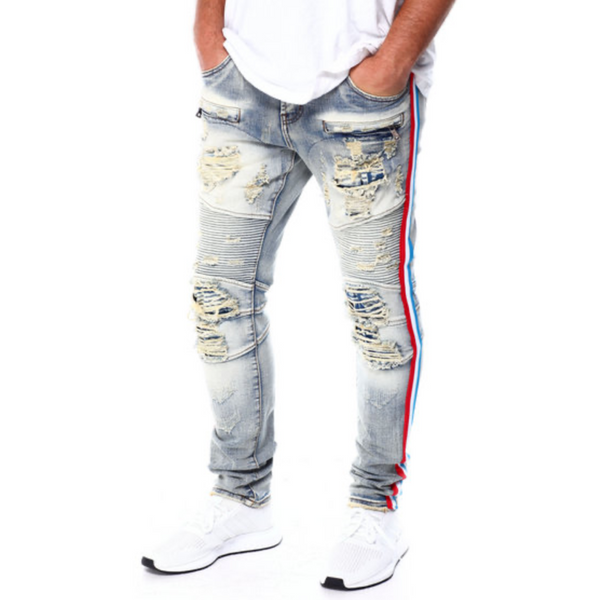 Red, white and blue stripe jeans