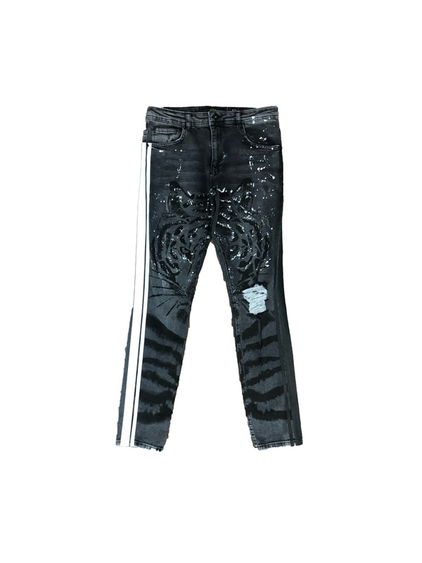 Tiger print denim pants