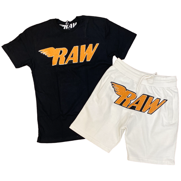 Orange CHENILLE CREW NECK AND COTTON SHORTS SET