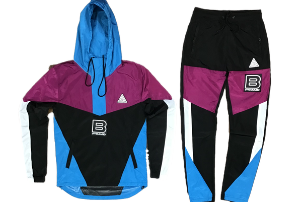 B pyramid windbreaker set (purple and blue)