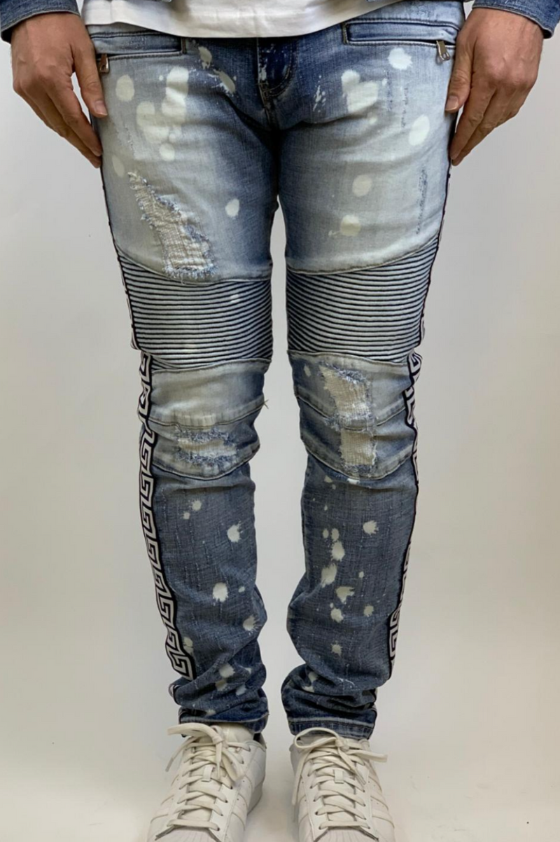 Blue stripe Biker denim (blue w/ bleach)