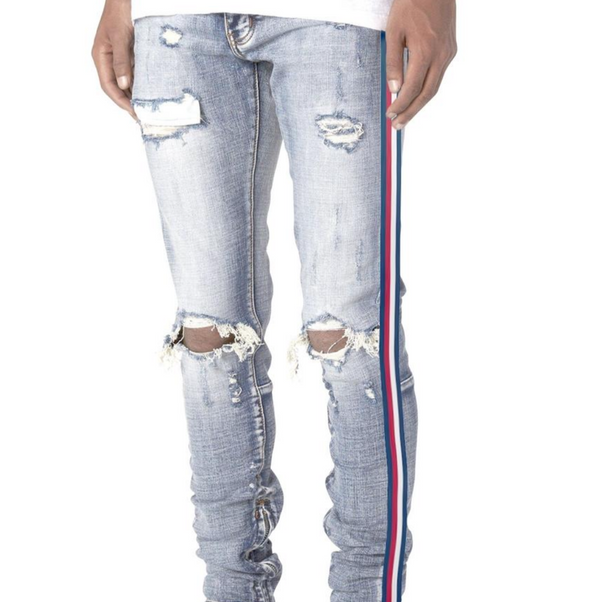USA Stripe Ankle Zipper (Light Wash)