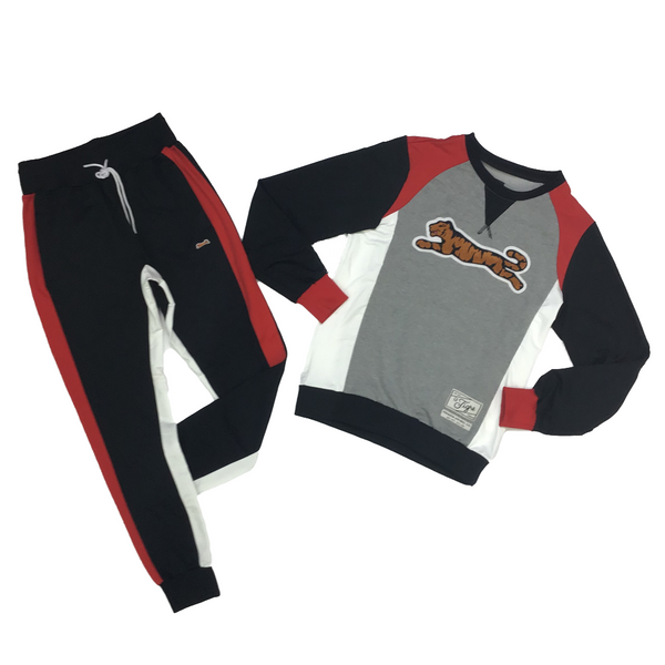 Retro logo crew neck sweatsuit (black/red/white)