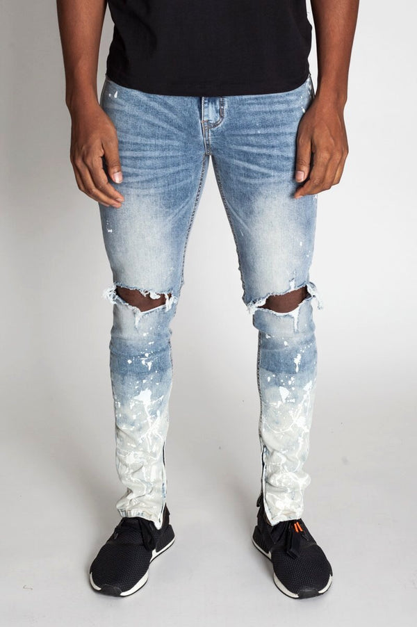 Painter's Distressed Ankle Zip Jeans (Blue Splash)